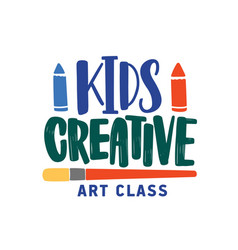 Kids creative art class flat logo childish vector