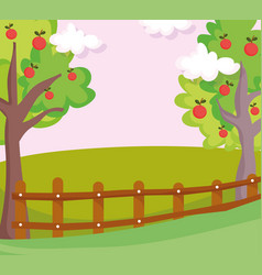 landscape nature clouds fruits trees wooden fence vector image