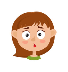 Little girl surprised face expression cartoon vector