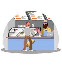 Man buys an ice cream on food court vector