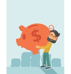 Man with his big piggy bank vector image