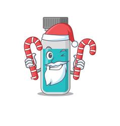 medical test bottle dressed in santa cartoon vector image