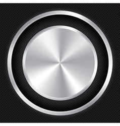 Metallic button on Carbon fiber background vector image