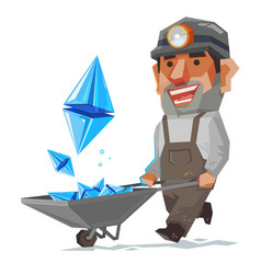 miner and ethereum mineral cryptocurrency sign vector image
