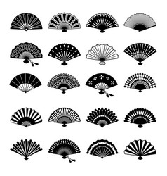 oriental fans silhouettes vector image