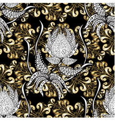 Oriental style arabesques seamless golden vector