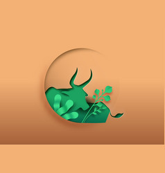 Ox bull animal paper cut with green eco leaf vector