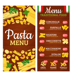 Pasta menu with italian cuisine products and price vector