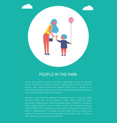 People in park poster mother with daughter in vector