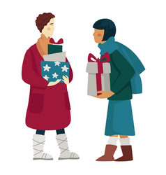 people shopping for christmas presents or vector image
