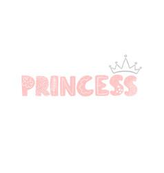 Princess - fun hand drawn nursery poster vector