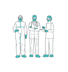 Professional doctors and nurses posing together vector