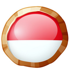 Round icon for indonesia flag vector