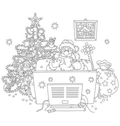 santa claus watching tv vector image
