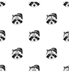 Seamless pattern with raccoons hipsters vector