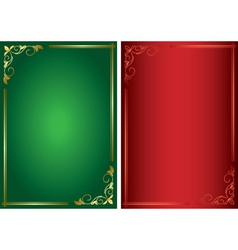set - decorative green and red frames vector image
