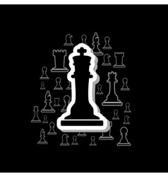 set of black and white outline chess pieces in vector image