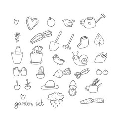 Set of garden objects plants pots and tools for vector
