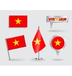 Set of Vietnamese pin icon and map pointer flags vector image