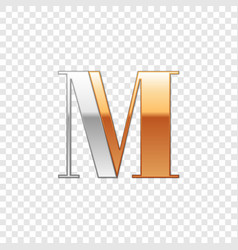 Silver and gold font symbol alphabet letter m vector