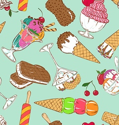 Sketch seamless pattern of colorful ice cream vector