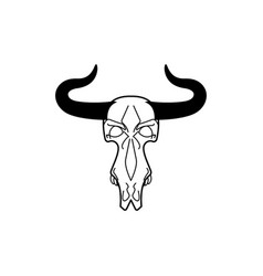 skull cow head of skeleton bull death of an farm vector image