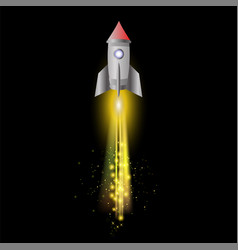 Space rocket on night sky background vector