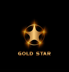 Star logotype gold color vector