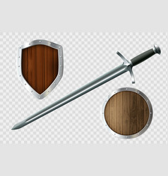 sword and set shields coat arms vector image