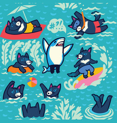 tasmanian devils swim sunbathe dive play ball vector image