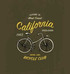tee print bicycle bike or transport t-shirt vector image