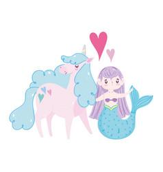 unicorn and mermaid princess lovely heart fantasy vector image
