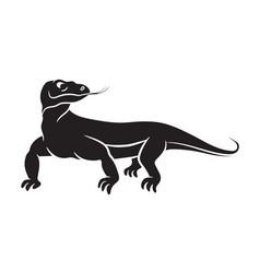 varanus komodo dragon black silhouette on white vector image
