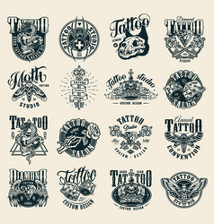 vintage monochrome tattoo studio labels vector image