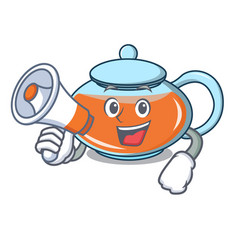 With megaphone transparent teapot character vector