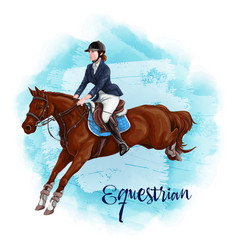 Woman horseback riding equestrian sport vector