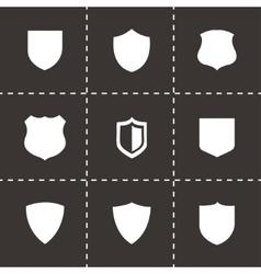 black shield icons set vector image vector image