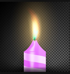 burning 3d realistic dinner candles dark vector image