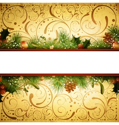 Christmas and New Year Fir Tree Frame vector image vector image