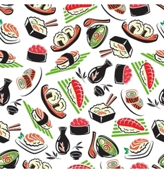 Japanese seafood cuisine seamless pattern vector image