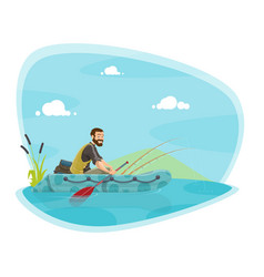 fishing sport icon with fisherman on boat with rod vector image