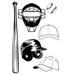 helmet bat cap ball mask set vector image vector image