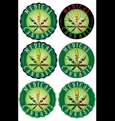 Medical Marijuana design leaf textured stamps vector image