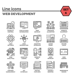 Web development line icon set vector
