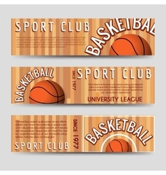Basketball sport club horizontal banners template vector image vector image