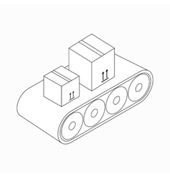 Conveyor belt with boxes icon isometric 3d style vector image