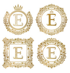 golden letter e vintage monograms set heraldic vector image