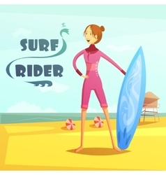 Surfing And Surf Rider Retro Cartoon vector image vector image