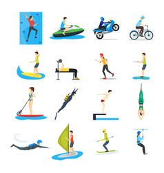 cartoon extreme sports people set vector image vector image