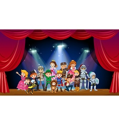 Children wearing costume on stage vector image